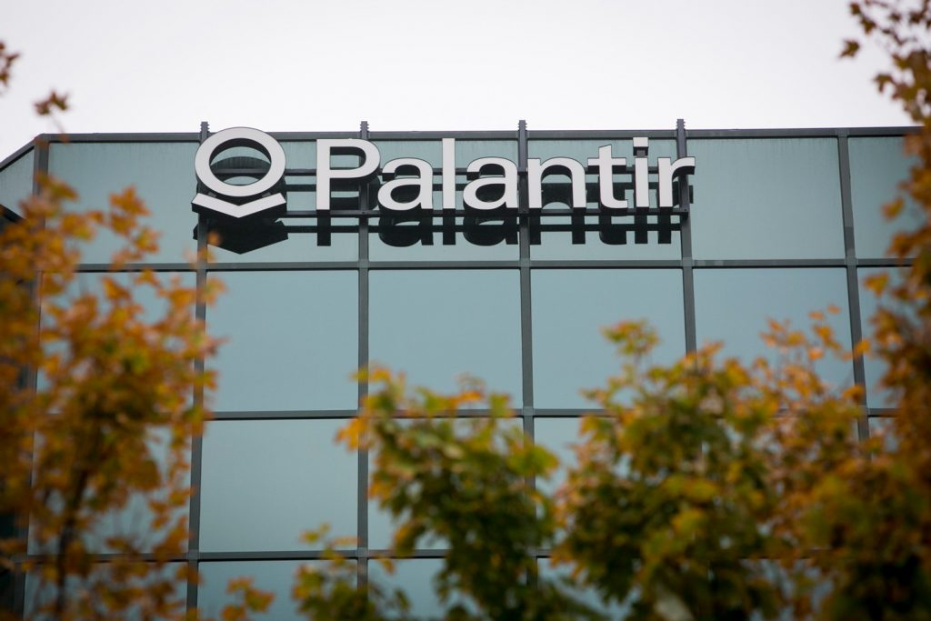 An office building occupied by the technology firm Palantir in McLean, Virginia on October 11, 2014. Photo Credit: Kristoffer Tripplaar/ Sipa USA